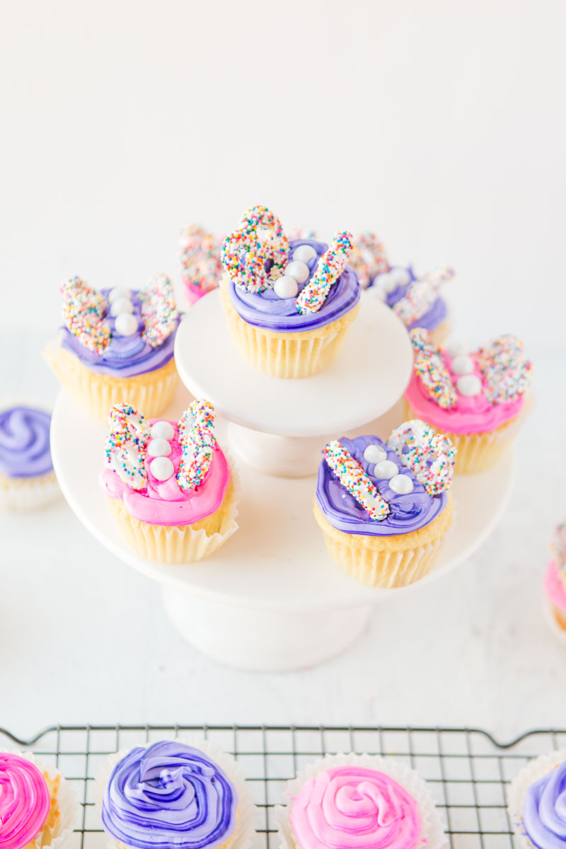 Easy Butterfly Cupcakes Displayed