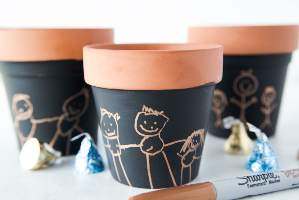 Kids Artwork on Terra Cotta Pots