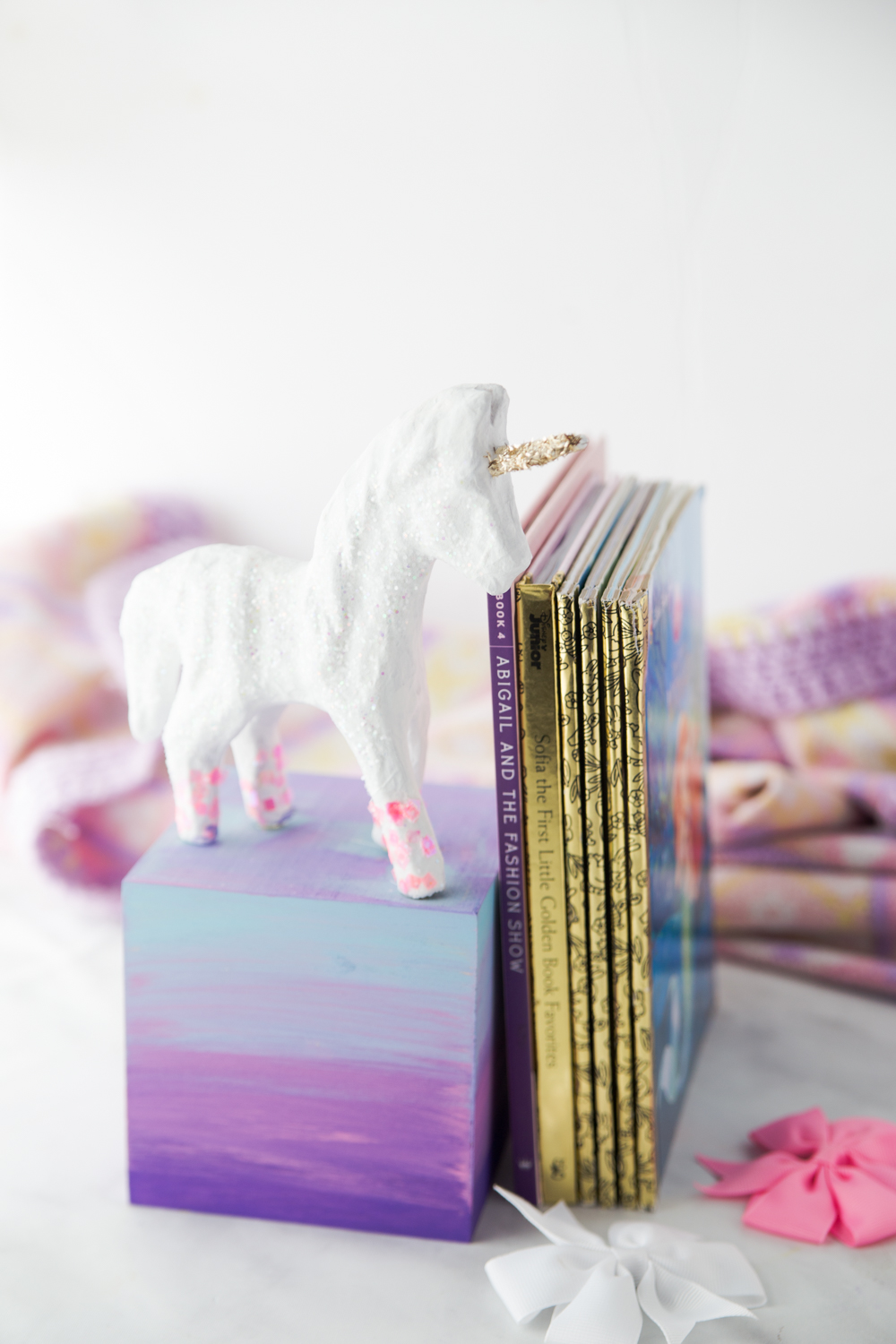 Diy Unicorn Bookend with Childrens Books
