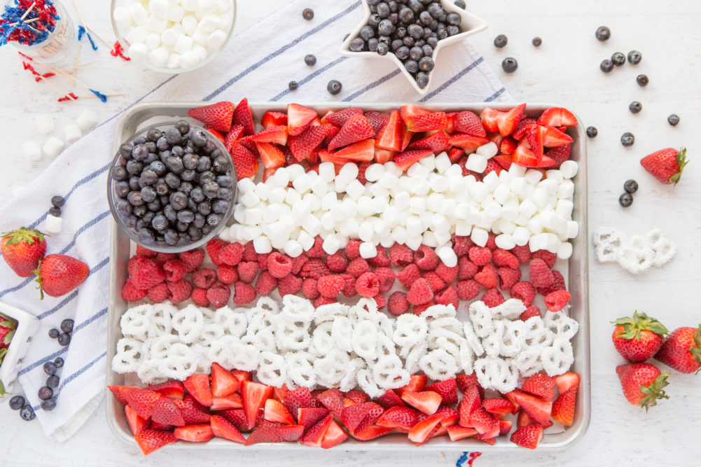 American Flag Fruit Tray with Berries