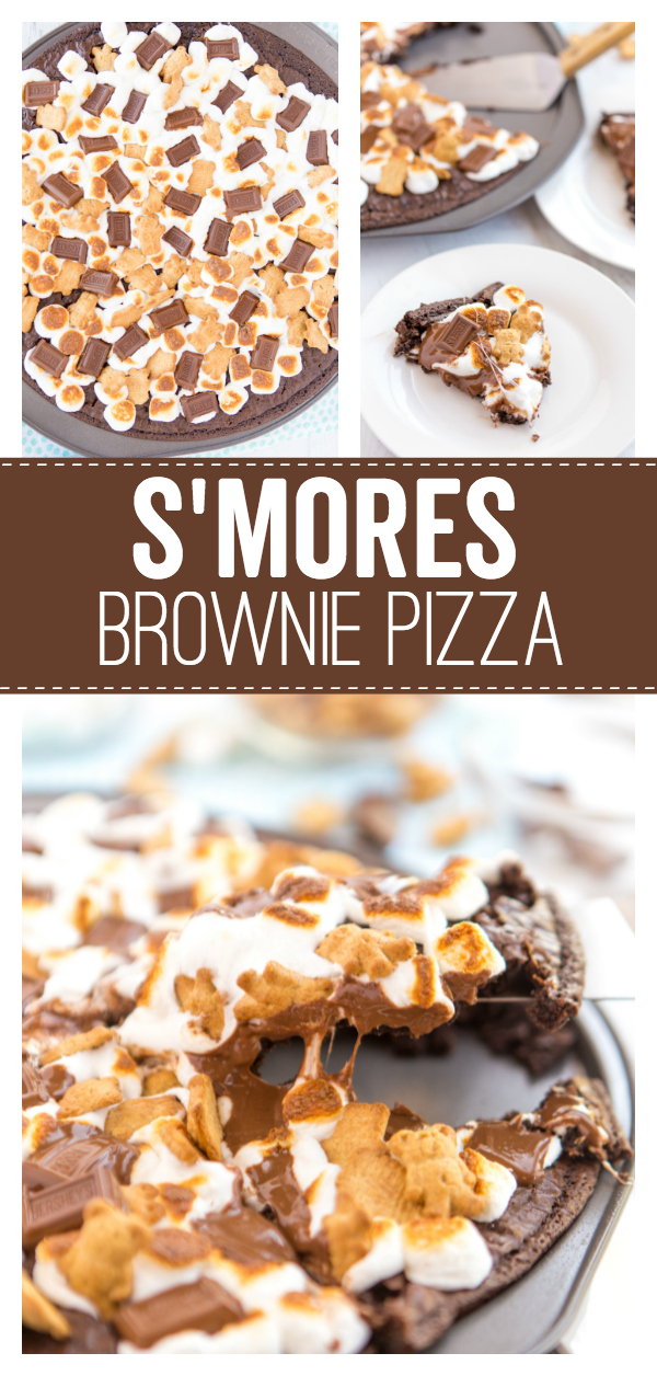 S'mores Brownie Pizza a delicious s'mores treat that starts with a brownie base and is topped with marshmallows, teddy grahams and mini marshmallows.  It's the delicious and classic fireside treat you can enjoy all year long.