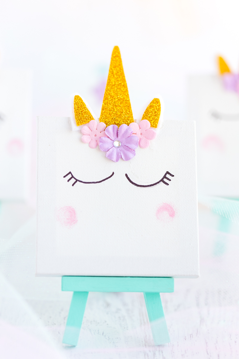 Unicorn Mini Canvas on Mint Colored Easel