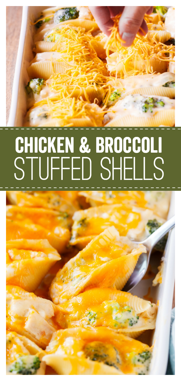 Chicken & Broccoli Stuffed Shells Pinterest Image