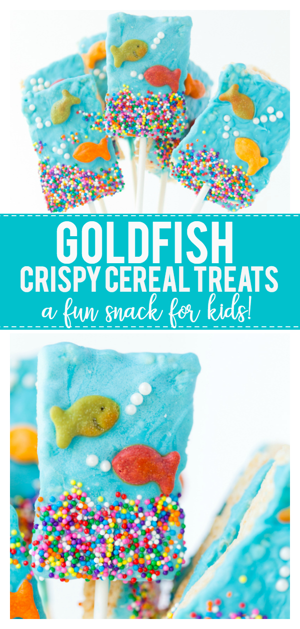 These Goldfish Crispy Cereal Treats are the perfect summer treat! Rice Krispie treats with a touch of blue candy melts, friendly goldfish and sprinkles makes this a fun treat for the kids! They are great for birthday parties, pool parties and more!