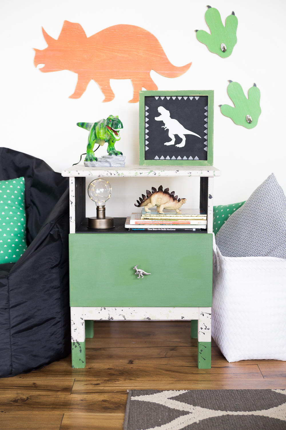 Dinosaur Nightstand Redo Made To Be A Momma