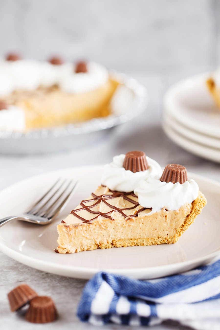 Slice of Frozen Peanut Butter pie on Plate