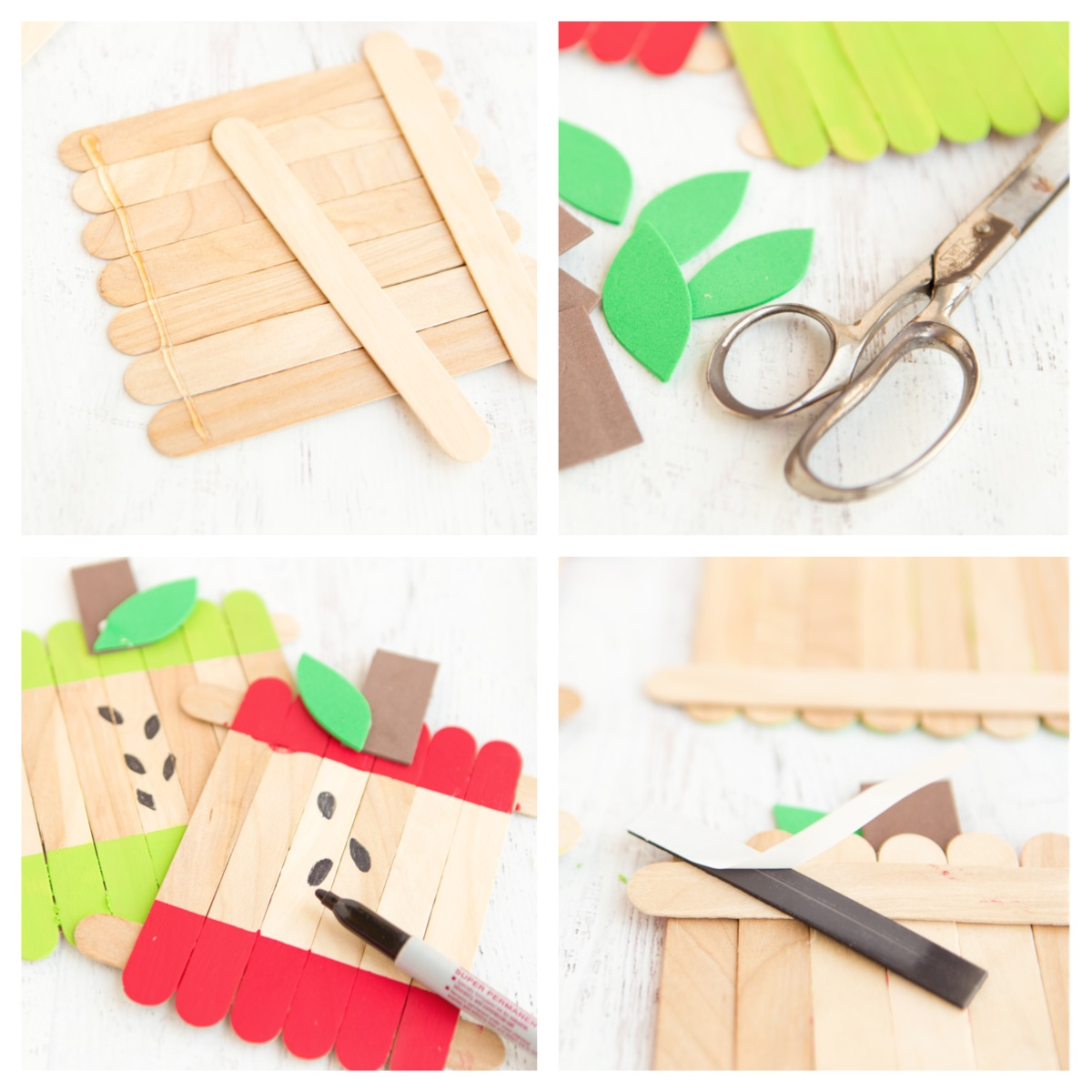 Apple Popsicle Stick Frames Steps