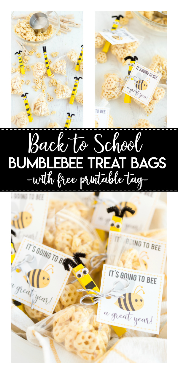 Back to School Bee Treat- a simple and yummy craft idea for kids to share with their friends! The printable gift tag is perfect for welcoming a new school year.