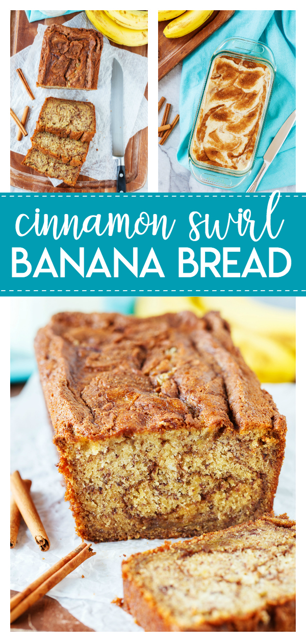 Cinnamon Swirl Banana Bread- a delicious twist on the classic banana bread!  Bursting with banana flavor and swirls of a sweet cinnamon sugar mixture.