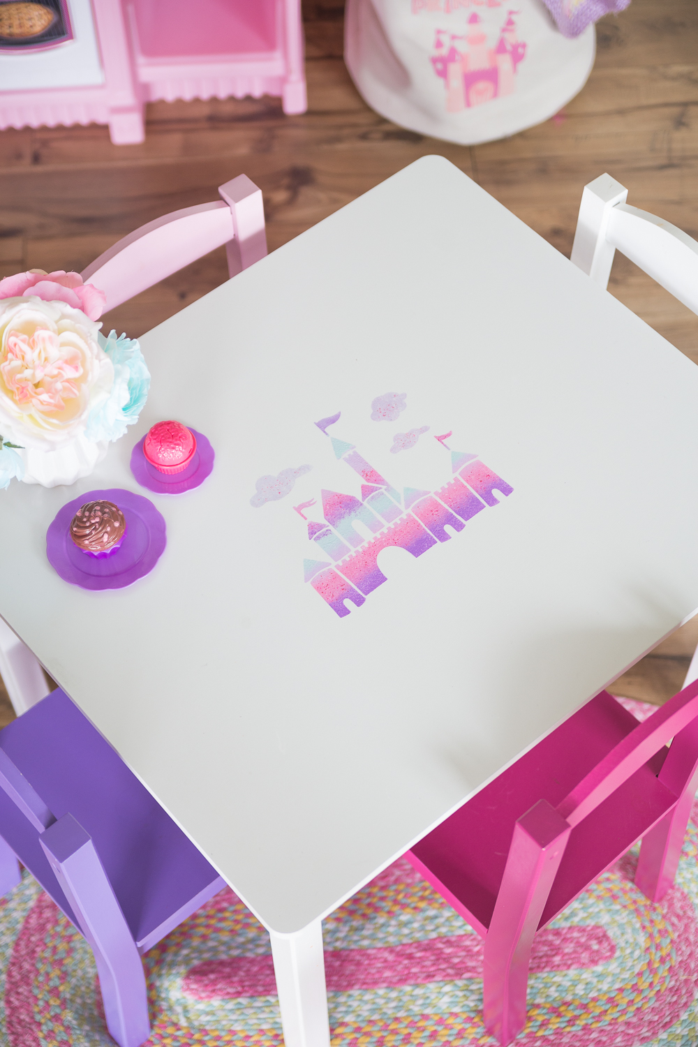 Princess Castle Toddler Desk: a fun and simple princess castle in shades of purples and pinks which is perfect for any little girls room.  The adhesive stencil makes this for a quick afternoon craft.