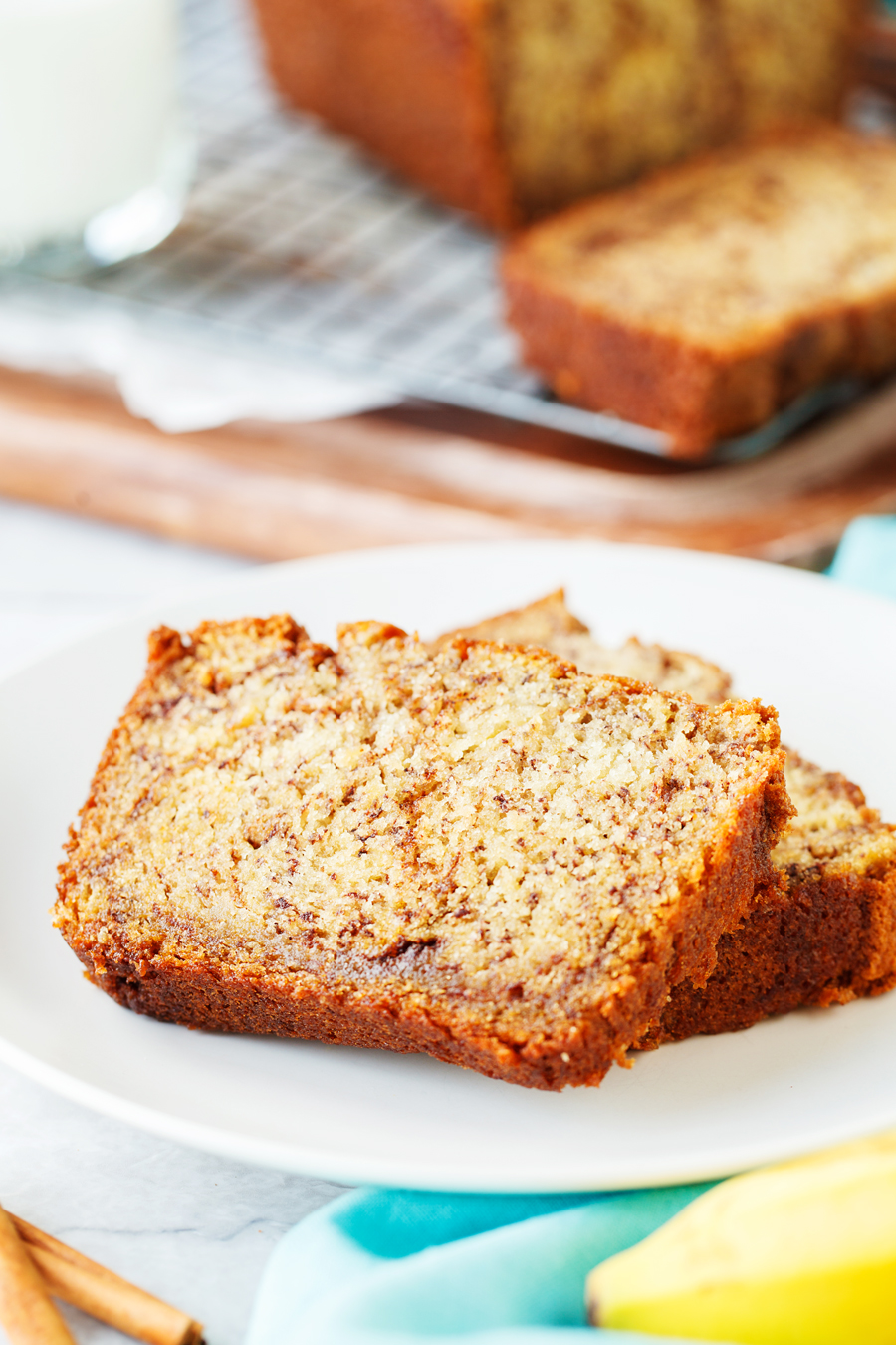 Cinnamon Swirl Banana Bread Loaf Slices