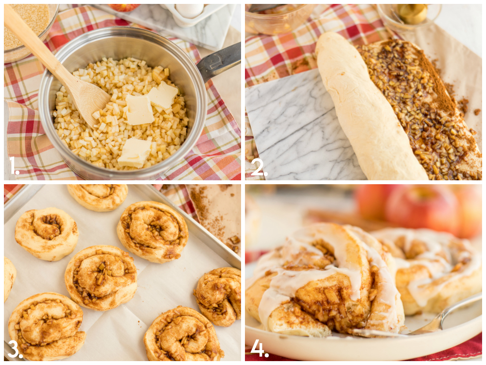 Apple Pie Cinnamon Rolls Process
