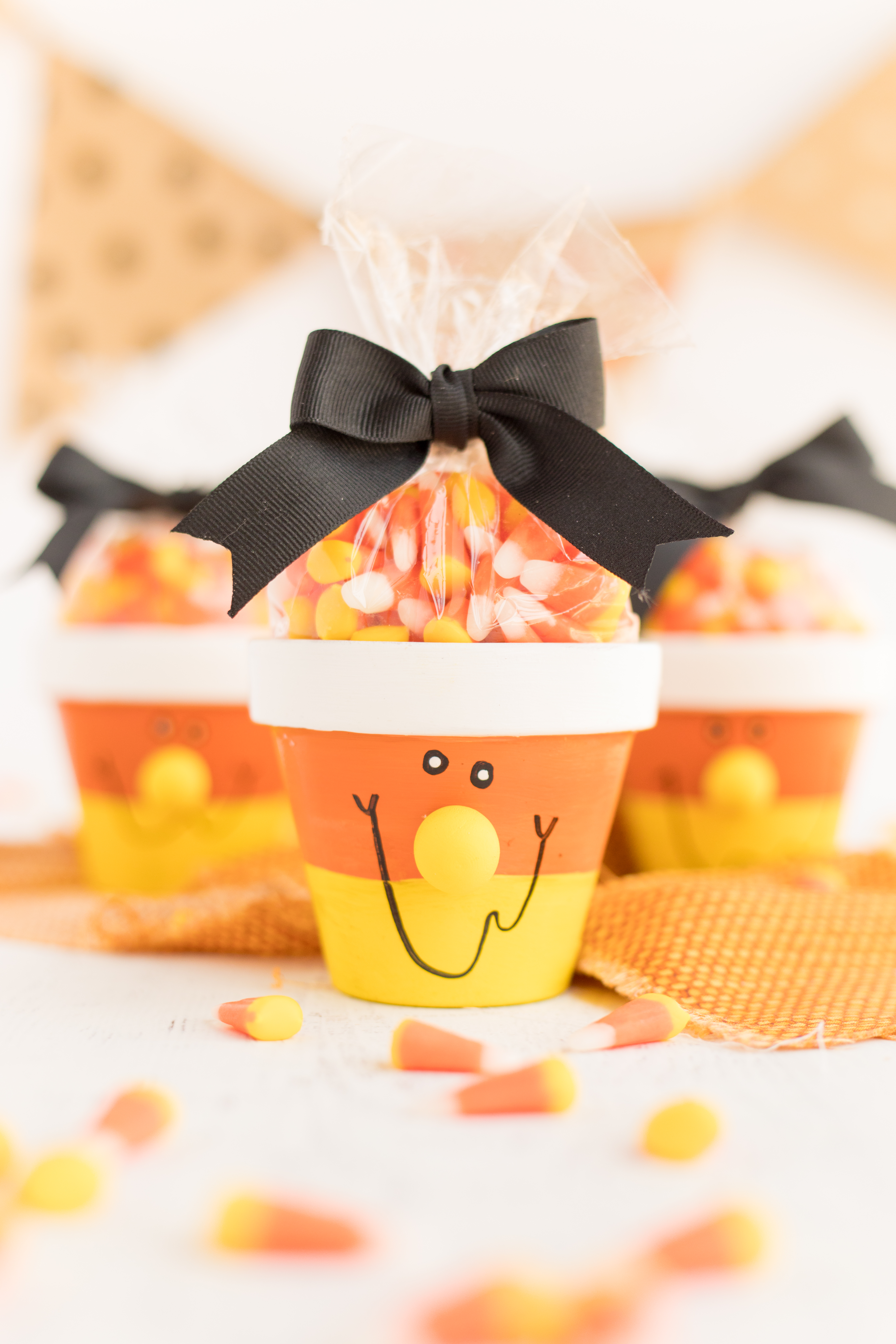 Candy Corn Candy Pots with Candy Filed Bags