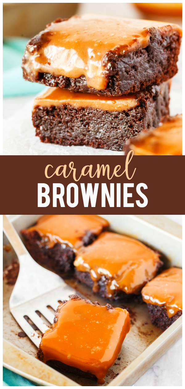 This Caramel Brownies recipe is so simple and delicious!  It starts with a brownie mix and then topped with a delicious homemade caramel sauce.  Add a dash of salt for a salted caramel brownie version.