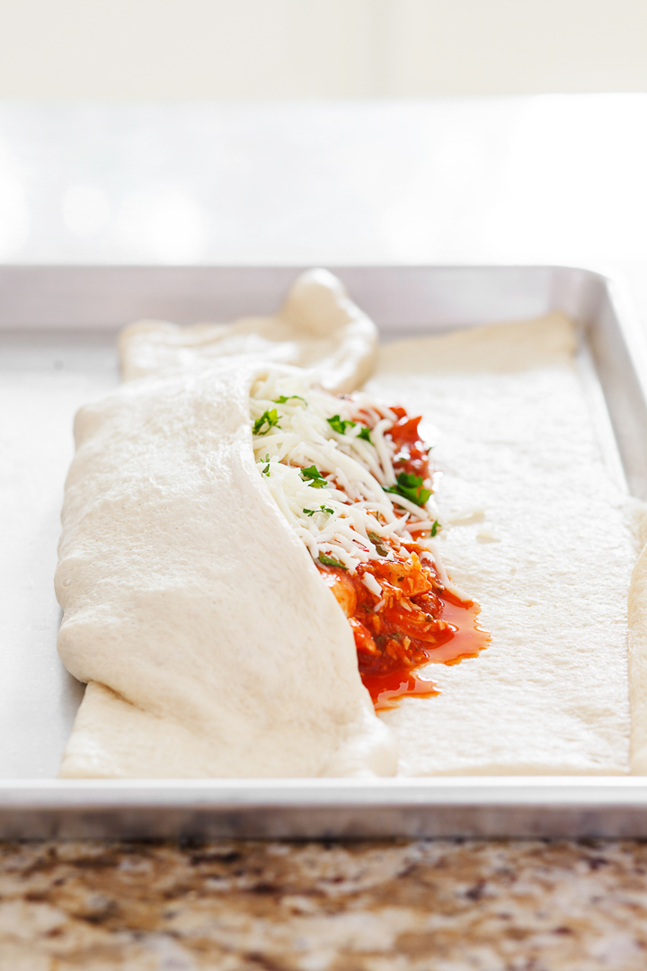 Chicken Parmesan Stromboli Folded Dough