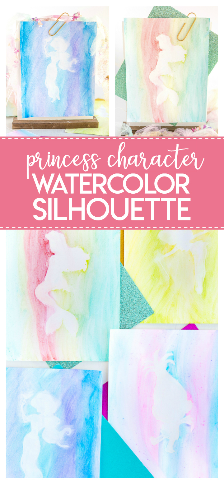 This Disney Princess Watercolor Silhouette craft is such a fun craft for any little princess loving little girl!  White chalk, princess silhouettes and watercolors are the few supplies needed to make these pretty Disney princesses.