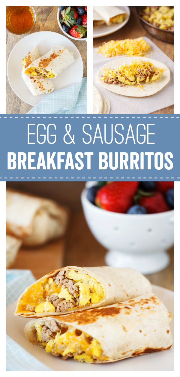 Egg and Sausage Breakfast Burritos: a delicious quick fix breakfast burrito you can make fresh or freeze for another busy morning. Sausage, egg and cheese makes this for a protein filled breakfast option.