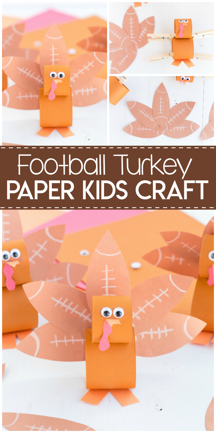 Football Turkey Paper Kids Craft: a fun paper kids craft to help celebrate Football season.  A perfect craft to keep kids busy on Thanksgiving morning.