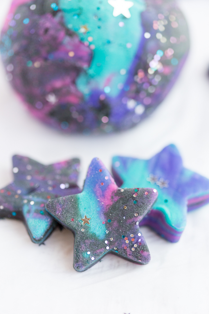 Galaxy Playdough cut into Star shapes