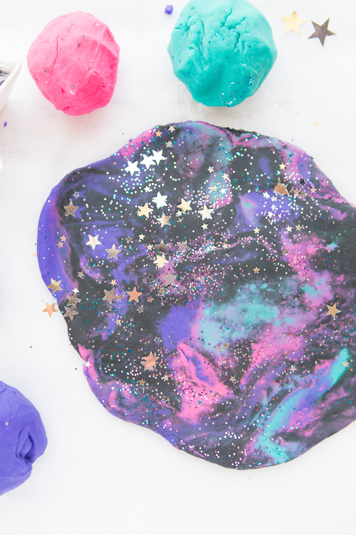 Galaxy Playdough Rolled Out