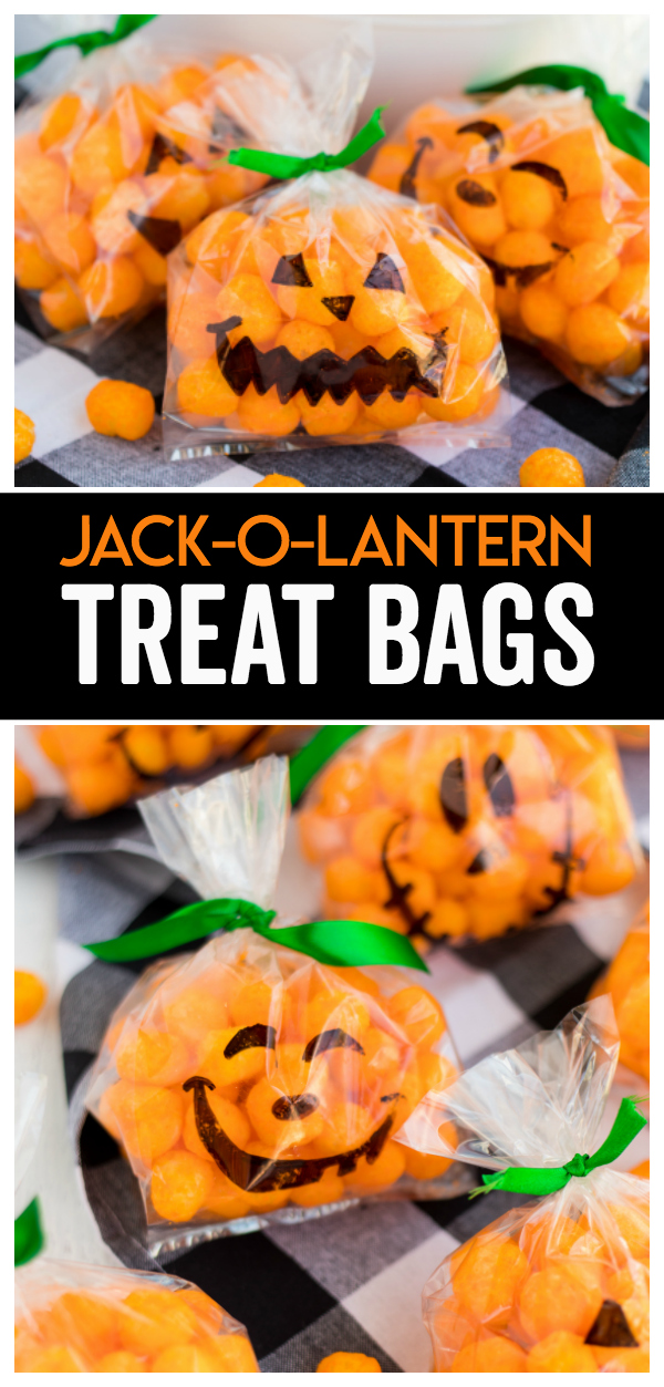 Jack-O-Lantern Treat Bags are a fun and simple halloween treat idea the kids will love to share with their friends! The silly Jack-O-Lantern faces are the kids favorite part.