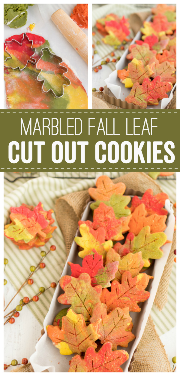 These Fall Leaf Cut Out Cookies are a fun way to celebrate the coming of fall. Colorful cookie dough and sanding sugar makes these a pretty cookie to enjoy all Fall season.