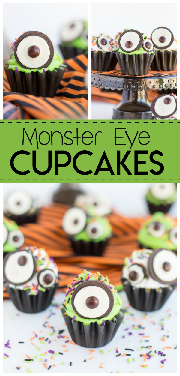 These Monster Eye Cupcakes are a fun and easy halloween cupcake recipe great for parties, classrooms treats or Trick or Treat parties.