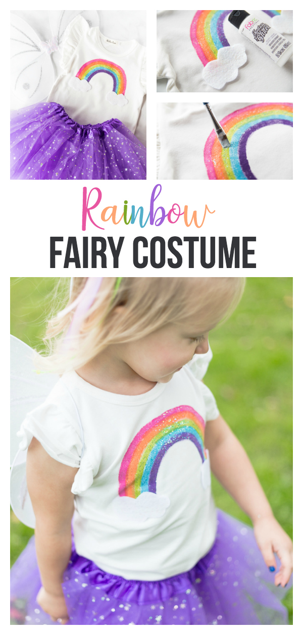 Rainbow Fairy Costume: a simple and sweet toddler costume idea that is perfect for Halloween or playtime.  A sparkly diy rainbow shirt and matching tutu are a perfect pair for any little rainbow fairy