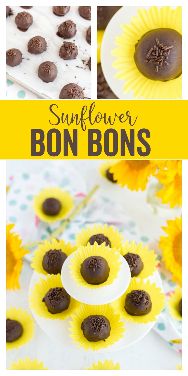 Sunflower Bon Bons: a delicious chocolatey treat served in a pretty sunflower shaped cupcake liner. Perfect for fall parties, bridal showers, and more!