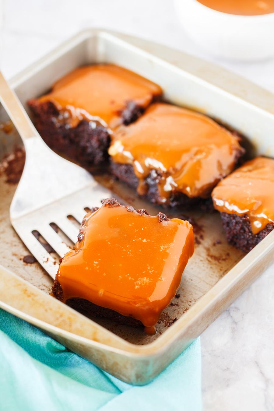 Serving Caramel Brownies