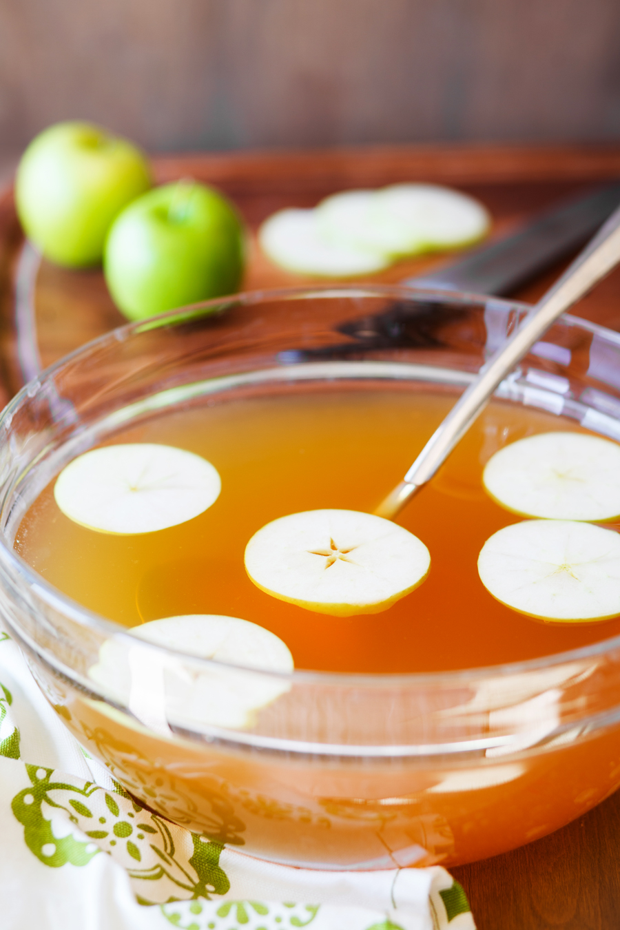 White Apple Punch in Punch Bowl