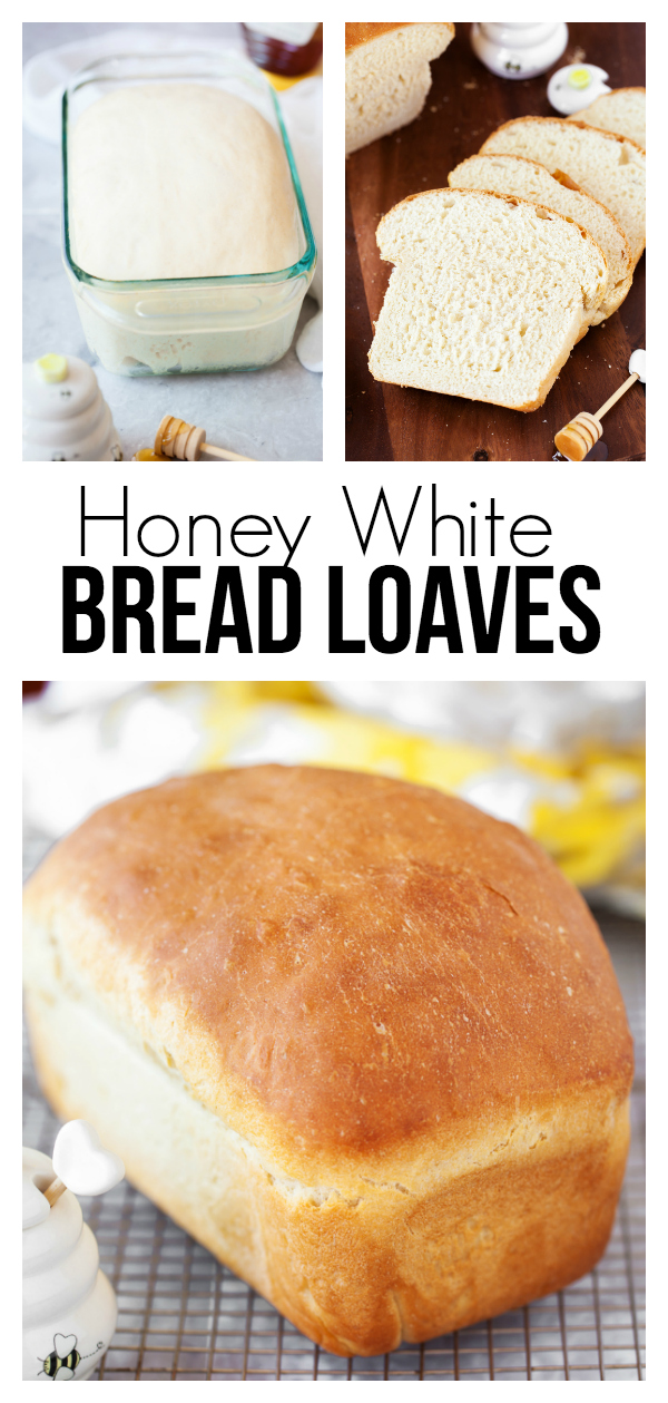 Honey White Bread Loaves: a soft and delicious bread recipe that is great for as a base for a sandwich or with homemade jam and butter.
