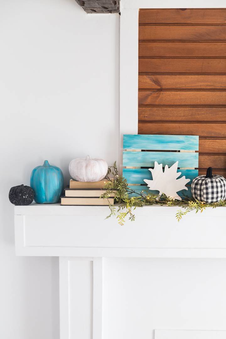 These White and Color Washed Pumpkins are an easy and colorful pumpkin statement for any Fall themed mantel!