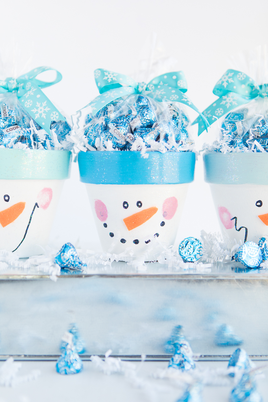 Set of Snowman Terra Cotta Pots