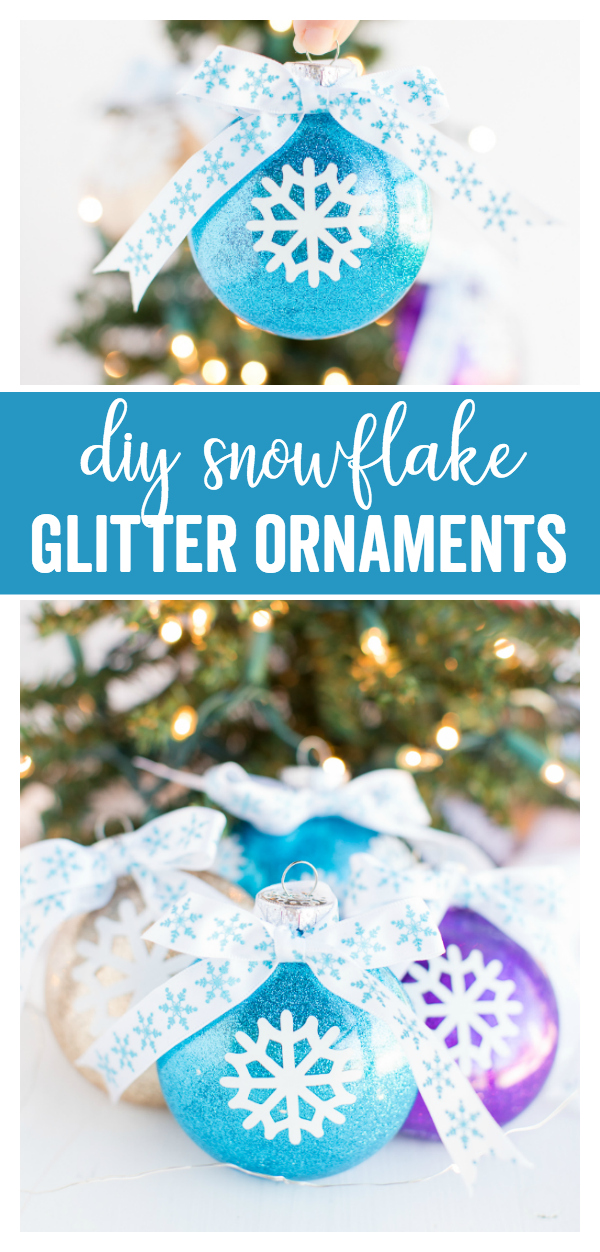 DIY Snowflake Glitter Ornaments - a simple DIY ornament craft perfect for your Christmas tree or to give as gifts.  All you need is some fillable ornaments, glitter, glue, and a vinyl snowflake and you can have a set of ornaments in under 30 minutes!