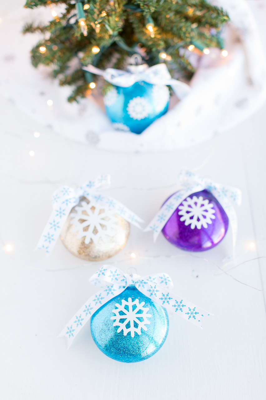 Blue, gold and purple glitter ornaments