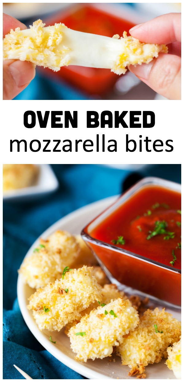 Oven Baked Mozzarella Bites- delicious breaded cheese stick oven baked to perfection.  Paired with a warm marinara sauce it makes a great party appetizer!