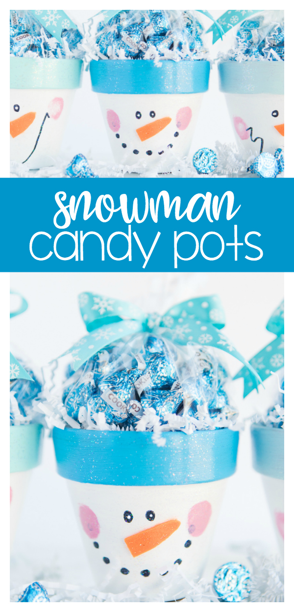 Snowman Candy Pots - a fun winter DIY painting craft that is fun for gift giving!  A friendly snowman face and Mod Podge sparkle makes this an easy and kid friendly craft you can finish in under 30 minutes!