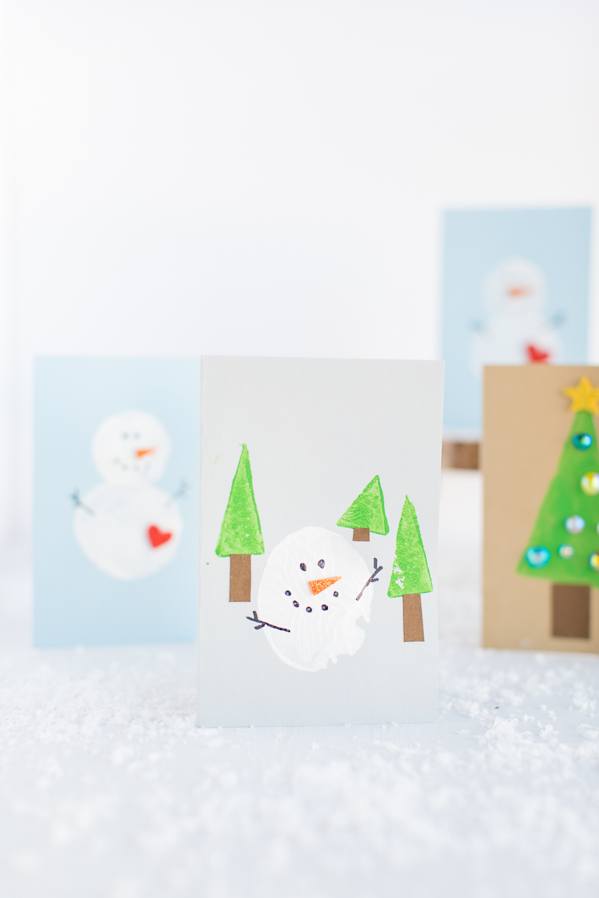 snowman card painted and decorated
