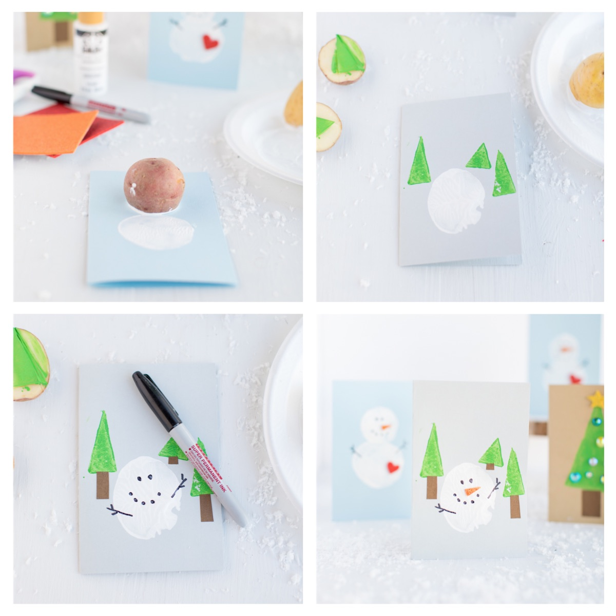 Potato Stamped Snowman Step by Step