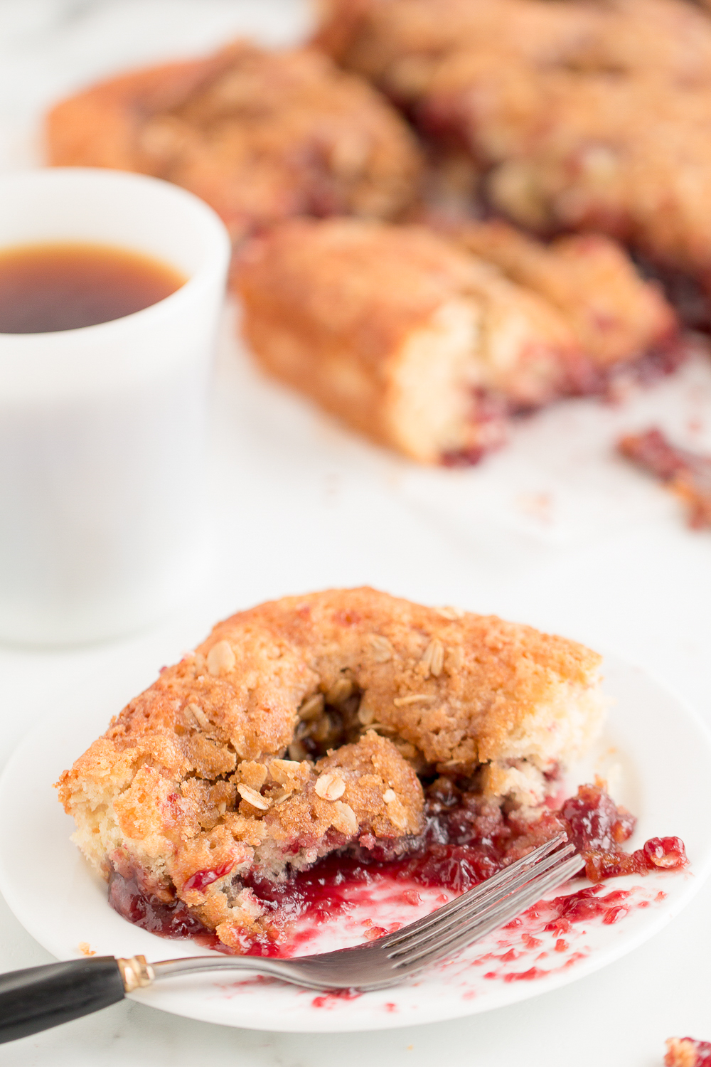 This Raspberry Streusel Coffee Cake is a delicious breakfast treat!  A yummy batter swirled with raspberry jam and topped with a crunchy oat and sugar topping.