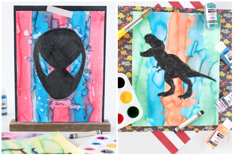 Black Crayon Watercolor Silhouettes are a fun and simple watercolor craft for kids! A black crayon, watercolor paints and a cut out stencil of your childs favorite character is all you need for a colorful piece of art.