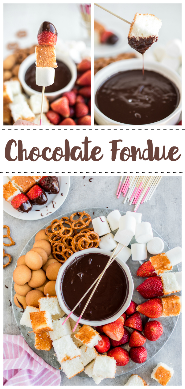 A delicious and easy chocolate fondue recipe with fun dipping skewers and dipper ideas.