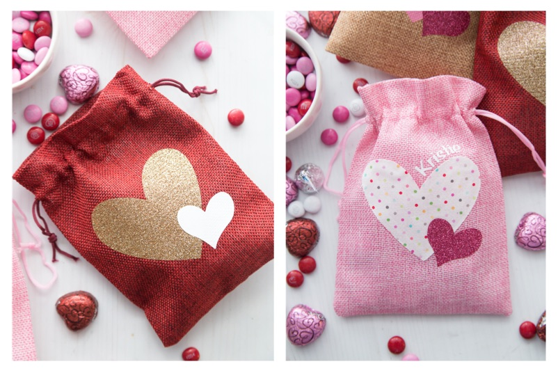 Valentine's Day Burlap Treat Bags Options