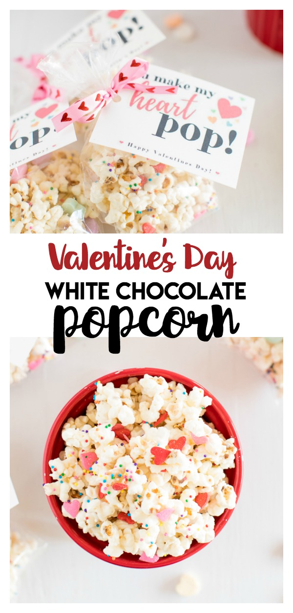 Valentine's Day White Chocolate Popcorn: a delicious and sweet popcorn treat that is great as a Valentine's Day Gift with free printable tags! Great for classrooms!