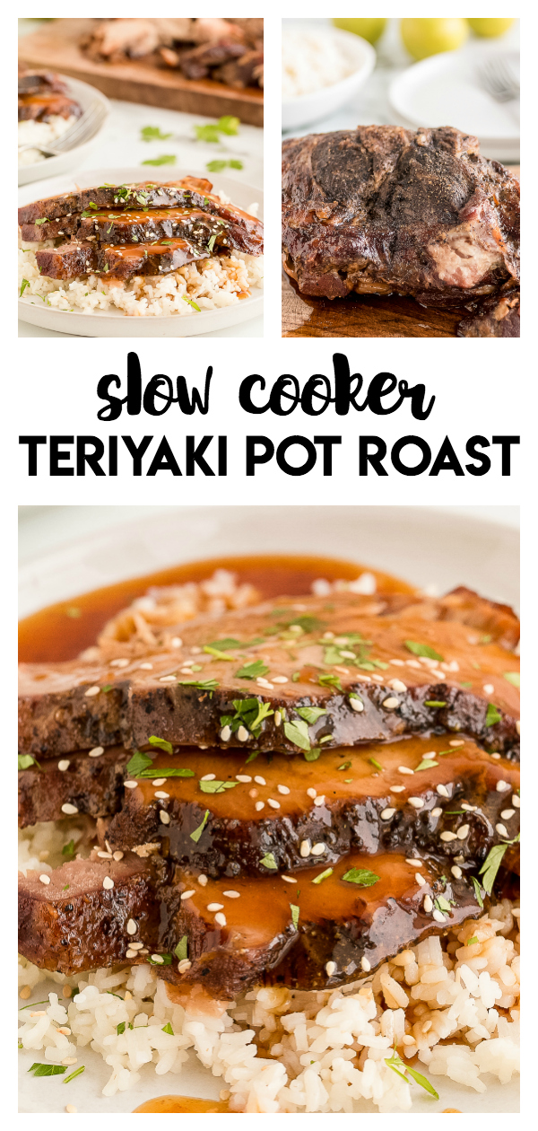 Slow Cooker Teriyaki Pot Roast: a delicious pot roast meal with teriyaki flavor. Serve with gravy and white rice for a delicious meal.