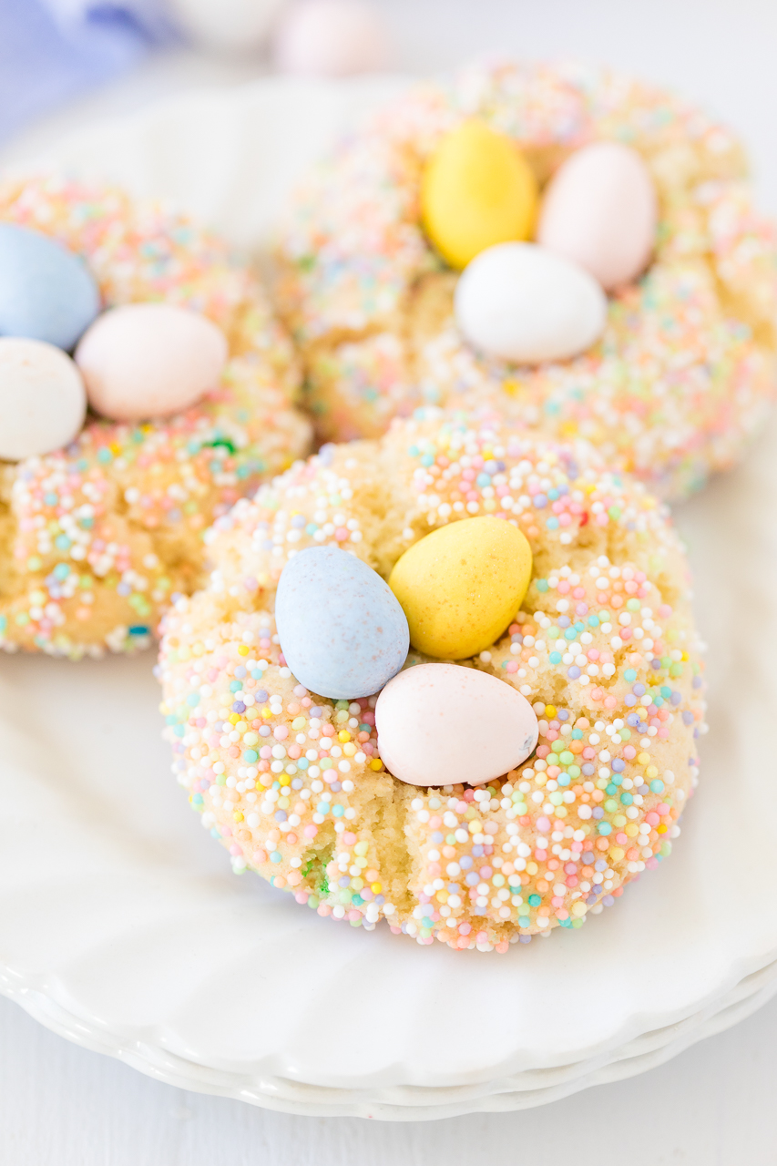 Birds Nest Funfetti Cookies are such a delicious and fun Easter egg treat!  Pastel sprinkles and Cadbury eggs make this a treat the kids will love to make and eat!