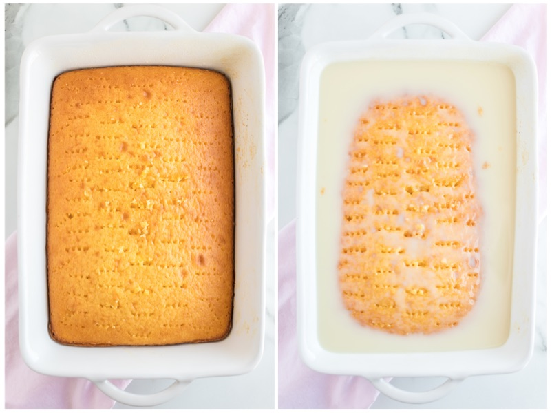 poked cake mix with coconut filling