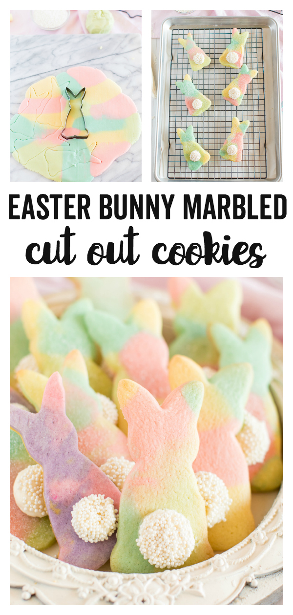 Marbled Easter Bunny Cut Out Cookies - a fun, colorful, and festive cut out cookie recipe that is perfect for Spring and Easter time! Kids will love the fun bunny shapes and the marbled colors.