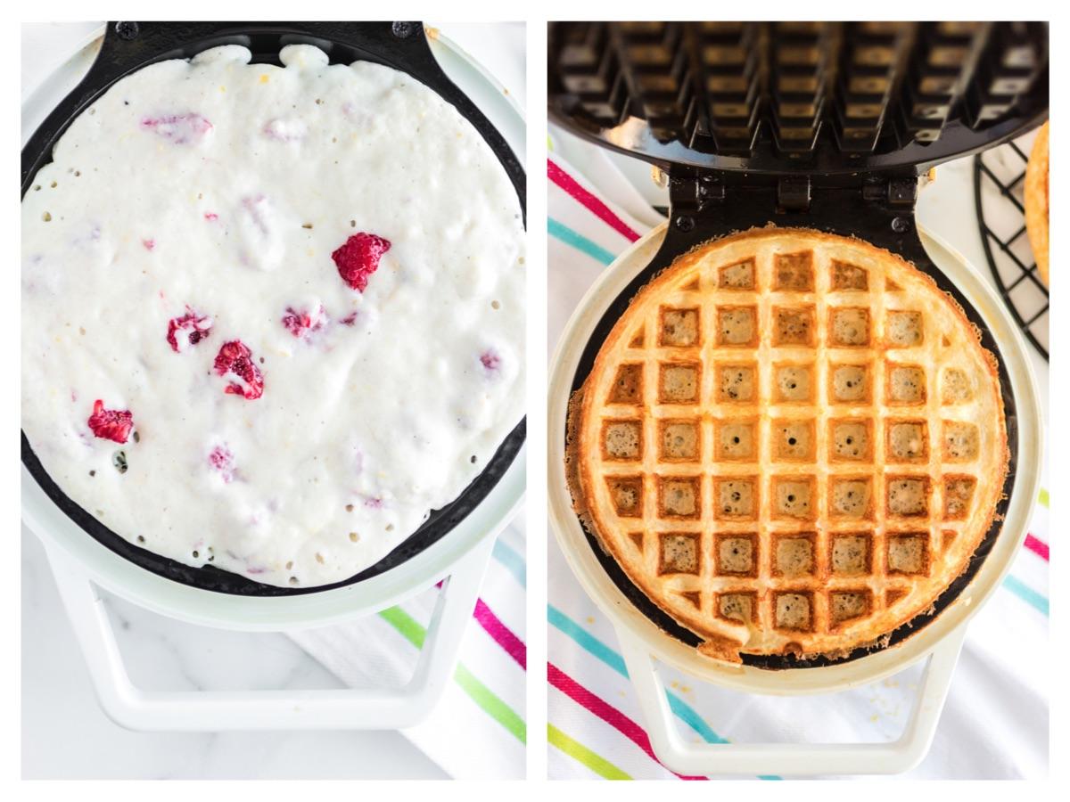 raspberries in waffle batter